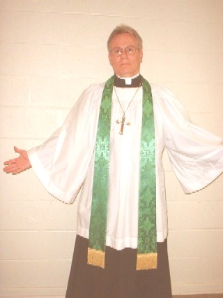 Picture of me wearing a cassock with surplice and stole